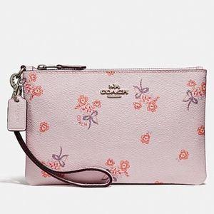 Coach NWT Pink Floral Bow Print Wristlet